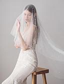 preiswerte Hochzeitskleider-Zweischichtig Süß Hochzeitsschleier Fingerspitzenlange Schleier mit Kunstperlen 39,37 in (100cm) Tüll / Fallender Schleier