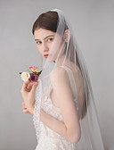cheap Wedding Dresses-One-tier Sweet Wedding Veil Fingertip Veils with Fringe 45.28 in (115cm) Cotton / nylon with a hint of stretch / Classic