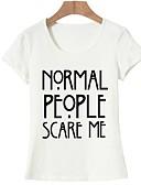 hesapli Tişört-Kadın's Pamuklu Tişört Desen, Harf Temel Dışarı Çıkma Beyaz