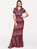 baratos Biquínis e Roupas de Banho Femininas-Mulheres Boho Solto Vestido Estampa Colorida Longo