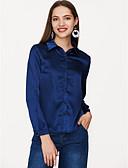 abordables Camisas para Mujer-Mujer Básico Camisa, Cuello Camisero Un Color / Satén