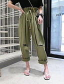 זול מכנסיים לנשים-בגדי ריקוד נשים צ'ינו מכנסיים - מותניים גבוהים אחיד