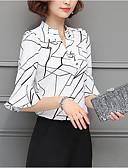 tanie Koszula-Koszula Damskie Moda miejska, Nadruk Wyjściowe W serek Luźna - Geometric Shape / Wiosna / Lato