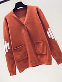 ieftine Tricou-Pentru femei Sfârșit de săptămână Dungi Manșon Lung Regular Cardigan, În V Albastru piscină / Negru / Roșu-aprins Mărime unică