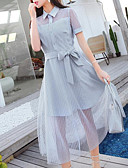 tanie Sukienki-Damskie Wyjściowe Szczupła Swing Sukienka Kołnierzyk koszuli Asymetryczna