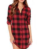 baratos Camisas Femininas-Mulheres Camisa Social Básico Xadrez