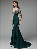 billige Aftenkjoler-Havfrue V-hals Hofslæb Chiffon Formel aften Kjole med Krystaldetaljering ved TS Couture®