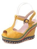 ieftine Tricou-Pentru femei Sandale Platformă PU Vară Sandale Toc Platformă Gri / Galben / Albastru