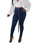 ieftine Pantaloni de Damă-Pentru femei De Bază Subțire Blugi Pantaloni - Mată Talie Înaltă Albastru piscină
