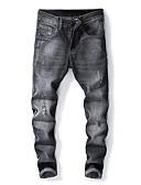 ieftine Jachete & Paltoane Bărbați-Bărbați Șic Stradă Bumbac Zvelt Blugi Pantaloni - Mată Găurite Gri Închis / Primăvară / Toamnă