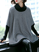 cheap Women's Sweaters-Women's Long Sleeve Loose Pullover - Geometric Turtleneck