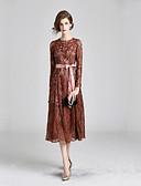 tanie Suknie i sukienki damskie-Damskie Elegancja Swing Sukienka - Solidne kolory, Koronkowe wykończenie Midi