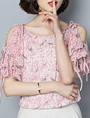 זול חולצה-פרחוני בסיסי חולצה - בגדי ריקוד נשים דפוס