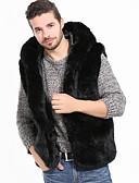 رخيصةأون سترات و بدلات الرجال-فرو رجالي أسود XL XXL XXXL Vest أساسي / أناقة الشارع لون سادة مع قبعة / بدون كم / الربيع / الشتاء
