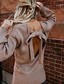 billige Romantiske blonder-Dame Daglig / I-byen-tøj Basale / Gade Åben ryg Ensfarvet Langærmet Løstsiddende Normal Pullover, Rund hals Efterår / Vinter Sort / Grå / Lysebrun M / L / XL / Sexy