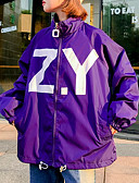 cheap Women's Down & Parkas-Women's Daily Regular Jacket, Letter Turtleneck Long Sleeve Polyester White / Black / Purple L / XL / XXL