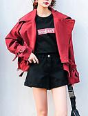 זול חולצה-בגדי ריקוד נשים אודם M L XL ג'קט סגנון רחוב עכשווי