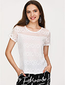 cheap Men's Shirts-Women's Daily Going out Street chic Slim T-shirt - Solid Colored Lace Black XL / Summer