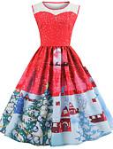 tanie Sukienki-Damskie Vintage / Elegancja Bawełna Szczupła Spodnie - Geometric Shape Nadruk Czerwony / Święto / Wyjściowe