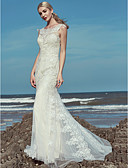 cheap Wedding Dresses-Mermaid / Trumpet Scoop Neck Floor Length Lace / Tulle Made-To-Measure Wedding Dresses with Beading / Lace by LAN TING BRIDE®