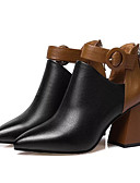 cheap Plus Size Dresses-Women's Bootie Cowhide / PU(Polyurethane) Fall Boots Chunky Heel Pointed Toe Booties / Ankle Boots Black / Color Block