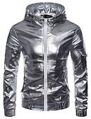 זול גברים-ג'קטים ומעילים-אחיד עם קפוצ'ון ג'קט - בגדי ריקוד גברים / שרוול ארוך