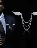 cheap Men's Blazers & Suits-Men's Cubic Zirconia Stylish / Link / Chain Brooches - Creative, Angel Wings Statement, Fashion, British Brooch Gold / Silver For Daily / Holiday