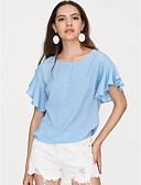 baratos Tops Femininos-Mulheres Blusa Básico Moda de Rua Frufru,Sólido