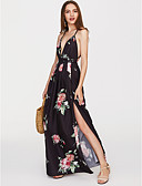 cheap Print Dresses-Women's Backless Daily Street chic Maxi Swing Dress - Floral Strap Summer Black L XL XXL / Sexy
