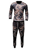 baratos Camisetas & Regatas Masculinas-Homens Delgado Manga Longa activewear Set Tribal Decote Redondo