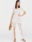 baratos Camisolas e Pijamas Femininos-Mulheres Para Noite Moda de Rua Delgado Tubinho Vestido Sólido Decote em V Profundo Cintura Alta Médio