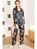 cheap Robes & Sleepwear-Women's Notch Lapel Satin & Silk / Suits Pajamas Floral