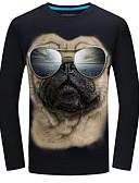 baratos Camisetas & Regatas Masculinas-Homens Camiseta Animal Decote Redondo / Manga Longa