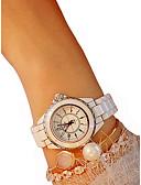 זול קווארץ-בגדי ריקוד נשים נשים שעון יד קווארץ כרונוגרף שעונים יום יומיים חמוד קרמי להקה אנלוגי צמיד אלגנטית שחור / לבן - לבן שחור