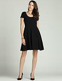 abordables Vestidos de Mujeres-Mujer Básico / Elegante Línea A / Pequeño Negro / Corte Swing Vestido - Plisado, Un Color Sobre la rodilla