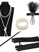 cheap Historical & Vintage Costumes-The Great Gatsby Charleston Vintage 1920s Roaring Twenties Costume Women's Flapper Headband Black / Golden+Black / Black / White Vintage Cosplay Party Prom / Feather / Gloves