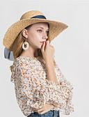 baratos Chapéus Femininos-Mulheres Básico De Palha - Laço Sólido / Primavera / Outono