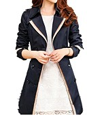 cheap Women's Coats & Trench Coats-Women's Daily Basic Fall & Winter Long Trench Coat, Color Block Fold-over Collar Long Sleeve Polyester Black / Khaki XL / XXL / XXXL