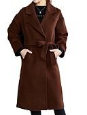 ieftine Rochii Damă-Pentru femei Concediu / Ieșire Șic Stradă / Sofisticat Primăvară / Toamna iarna Mărime Plus Size Lung Palton, Mată Răsfrânt Manșon Lung Blană Artificială / Bumbac / Acrilic Maro / Negru / Roșu-aprins