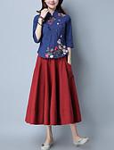 رخيصةأون فساتين فينتيدج قديمة-نسائي قطن قميص مرتفعة - النمط الصيني ورد, مناسب للعطلات / مناسب للخارج