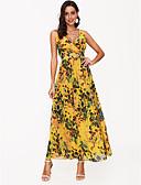 رخيصةأون فساتين للنساء-فستان نسائي متموج بدون ظهر / طباعة طويل للأرض ورد مع حمالة