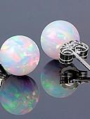 ieftine Tricou-Pentru femei Sintetic Opal Stl Solitaire Cercei Stud - S925 Sterling Silver Minge Stilat, Clasic, Dulce Alb Pentru Dată Muncă