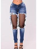 tanie Damskie spodnie-Damskie Szczupła Jeansy Spodnie - Kolorowy blok Niebieski