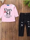 זול סטים של ביגוד לתינוקות-סט של בגדים שרוול ארוך ripped / דפוס דפוס חגים יום יומי / פעיל בנות תִינוֹק / פעוטות