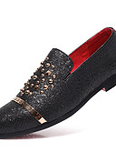 cheap Men's Blazers & Suits-Men's Formal Shoes Faux Leather Fall & Winter Business / Casual Loafers & Slip-Ons Wear Proof Striped Gold / Black / Silver / Party & Evening / Sequin / Party & Evening / Office & Career