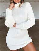 cheap Sweater Dresses-Women's Daily Basic Mini Sweater Dress - Solid Colored Black / White Turtleneck Fall Gray Wine Khaki XXL XXXL 4XL