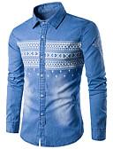 رخيصةأون قمصان رجالي-رجالي قطن قميص قياس كبير نحيل أساسي هندسي أزرق XL / كم طويل