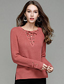 cheap Women's Sweaters-women's going out long sleeve pullover - solid colored v neck