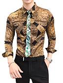 رخيصةأون معاطف و معاطف مطر رجالي-رجالي قميص نحيل ياقة كلاسيكية - عتيق ألوان متناوبة ذهبي XL / كم طويل / الخريف
