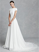 cheap Wedding Dresses-A-Line Bateau Neck Court Train Chiffon / Satin Made-To-Measure Wedding Dresses with Crystal Brooch by LAN TING BRIDE® / Beautiful Back